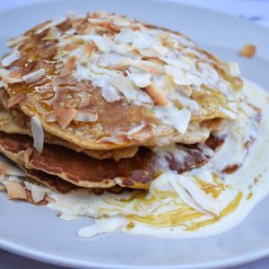 ANZAC Inspired Pancakes with Coconut Ricotta 'Ice-Cream'