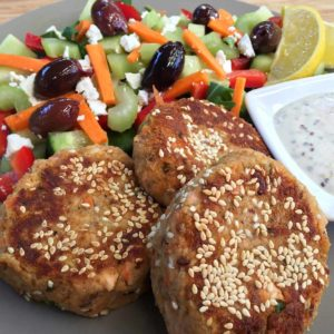 Salmon Patties with Mustard 'Aoili'